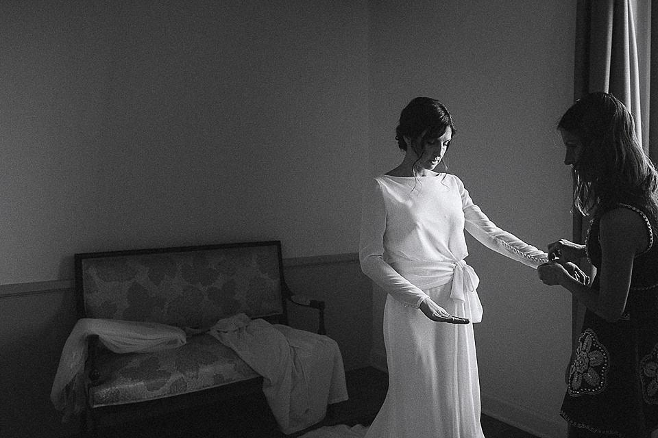 La sposa agitata prima della cerimonia