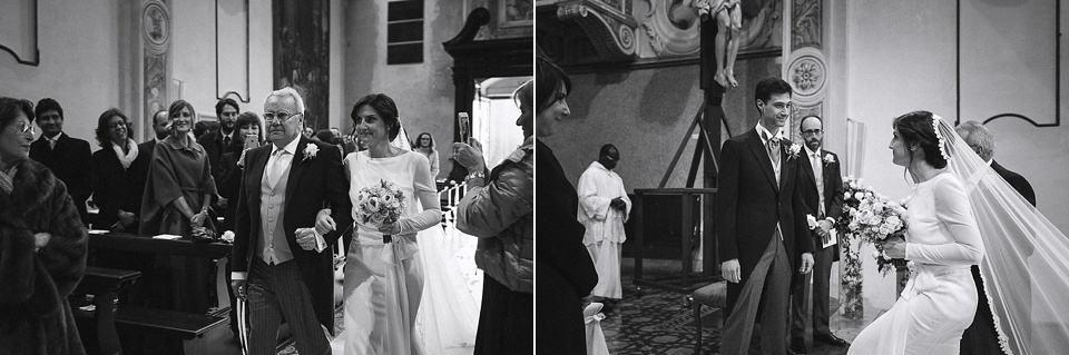 matrimonio invernale in franciacorta: Ingresso della sposa in chiesa