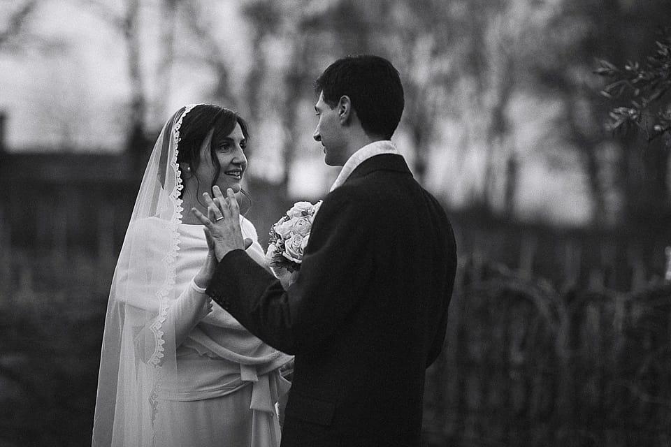 Fotografia degli sposi in bianco e nero