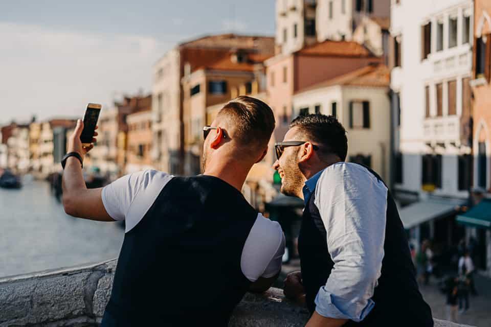 Selfie, coppia a Venezia
