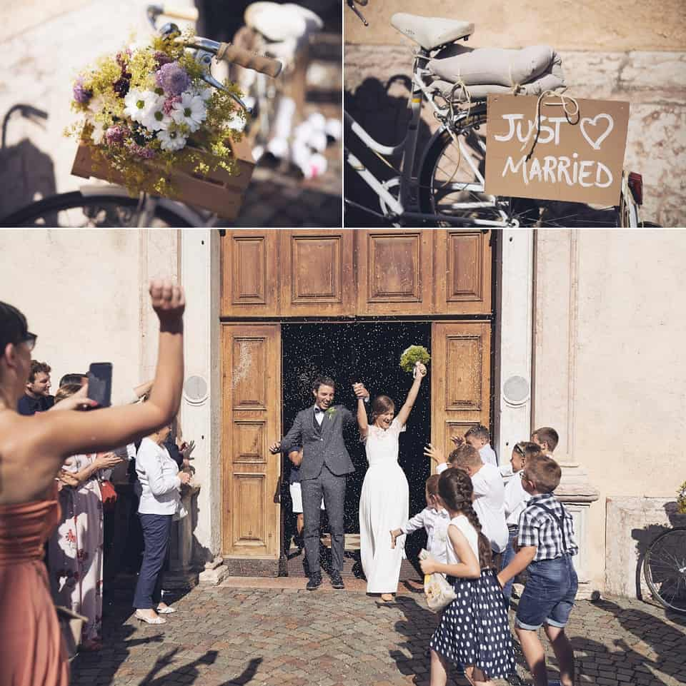 uscita dalla chiesa degli sposi fotografo per matrimoni Brescia