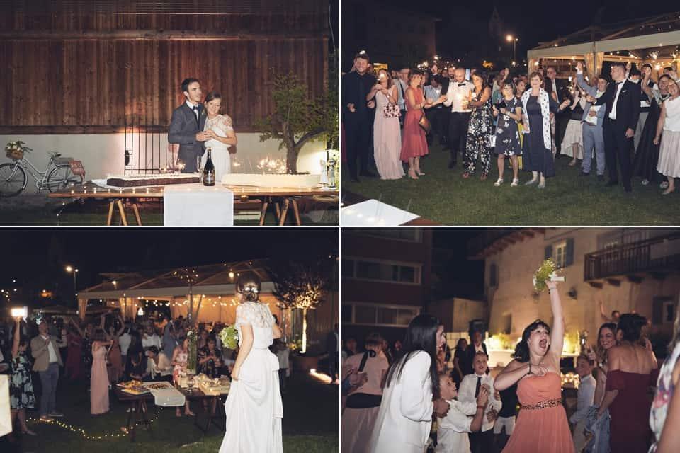 taglio torta e lancio del bouquet fotografo per matrimoni Brescia
